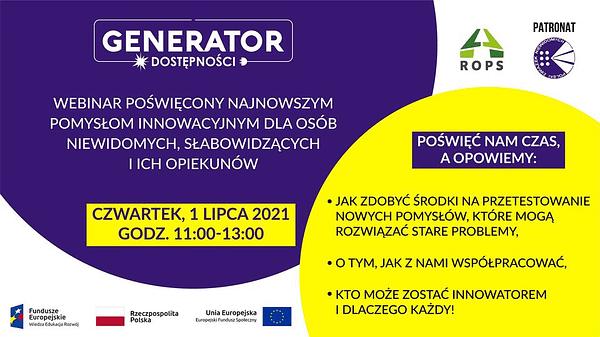 Plakat informujący o dacie webinarium o innowacjach dla osób z niepełnosprawnością wzroku