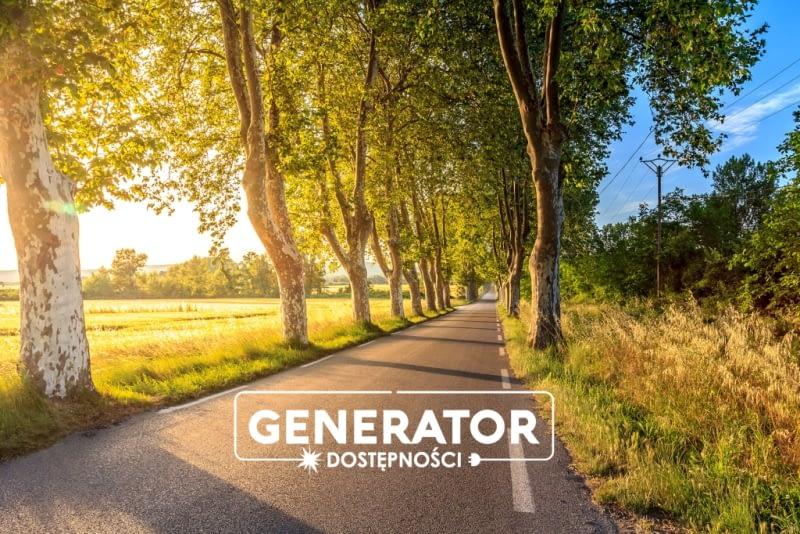 Zdjęcie przedstawia drogę z aleją drzew oraz logotyp Generatora Dostępności