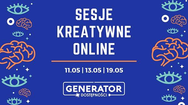 Obrazek przedstawia napis Warsztaty kreatywne online z datami 11.05, 13.05 i 19.05 na niebieskim tle ze wzorkami